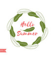 graphic tropical wreath in green and pink colors vector image