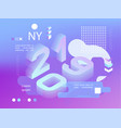 2019 neon holographic memphis style banner with vector image