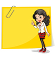 A yellow empty signage with a businesswoman in vector image vector image