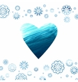 Acrylic background with a heart and snowflakes vector image vector image
