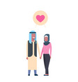 arab couple in love full length avatar on white vector image