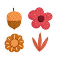 autumn flower acorn fliage decoration icons white vector image vector image