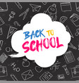 back to school color quote chalk blackboard icons vector image