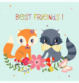 Best friends background vector image