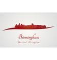 Birmingham skyline in red vector image vector image