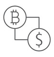 bitcoin vs dollar thin line icon finance money vector image vector image