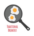 breakfast - fried egg on pan flat style vector image vector image