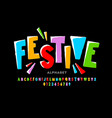 bright festive style font design vector image
