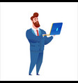 business man in suit stands with laptop vector image