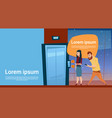 business people waiting elevator businesswoman vector image