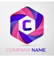 C Letter colorful logo in the hexagonal on grey vector image vector image