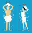 cartoon man and woman taking shower vector image vector image