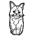 Cat Coloring Page isolated on white vector image vector image