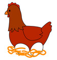 chicken with eggs on white background vector image