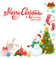 corner frame with christmas icons vector image vector image