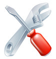 crossed spanner and screwdriver vector image vector image