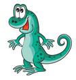cute emerald lizard character cartoon isolated vector image vector image