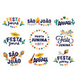 festa junina party design set background vector image