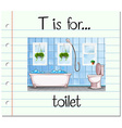 Flashcard letter T is for toilet vector image vector image