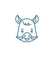 funny boar line icon concept funny boar flat vector image vector image