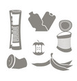 garbage set rubbish icon collection trash sign vector image