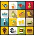 Gardening icons set in flat style vector image vector image