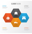 garment icons set collection of trunks cloth vector image vector image