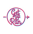 get up and run set of running marathon badge vector image vector image
