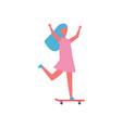 girl riding on skateboard in park cartoon icon vector image
