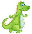 green crocodile on white background vector image