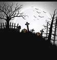 halloween night background with pumpkin in hill vector image vector image