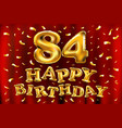 happy birthday 84th celebration gold balloons and vector image vector image