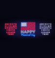 happy memorial day neon sign neon signboard vector image vector image