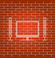 home theater sign whitish icon on brick vector image