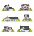 houses set suburban exterior flat design vector image vector image