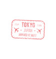 japan border control seal isolated visa stamp vector image vector image