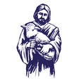 jesus christ son of god holding a lamb in his vector image vector image