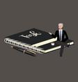 man sitting on big book of task list businessman vector image vector image