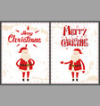 merry christmas santa claus pointing on something vector image vector image