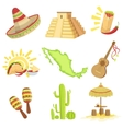 Mexican Culture Symbols Set vector image vector image