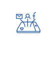 mobile social media network line icon concept vector image vector image