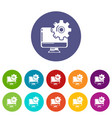 monitor repair icons set color vector image vector image
