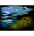 Night landscape with moon and stars vector image