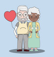 old people couple together forever with balloon vector image vector image