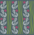 pattern with flowers and green waves vector image vector image