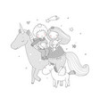 prince and princess are flying on a unicorn cute vector image