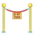 Red rope barrier with sign do not touch icon