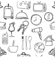 seamless doodle hotel pattern vector image vector image