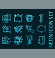 set design icons blue glowing neon icons vector image