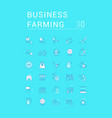 set line icons business farming vector image